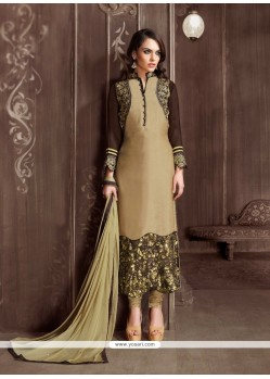 Competent Embroidered Work Velvet Beige Designer Suit