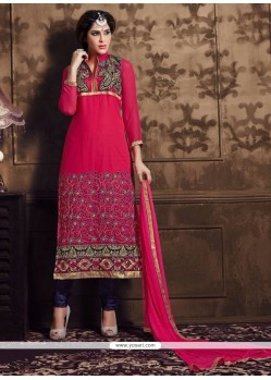 Splendid Magenta Patch Border Work Churidar Designer Suit