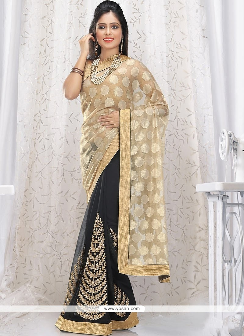 Glowing Beige And Black Shimeer Georgette Saree