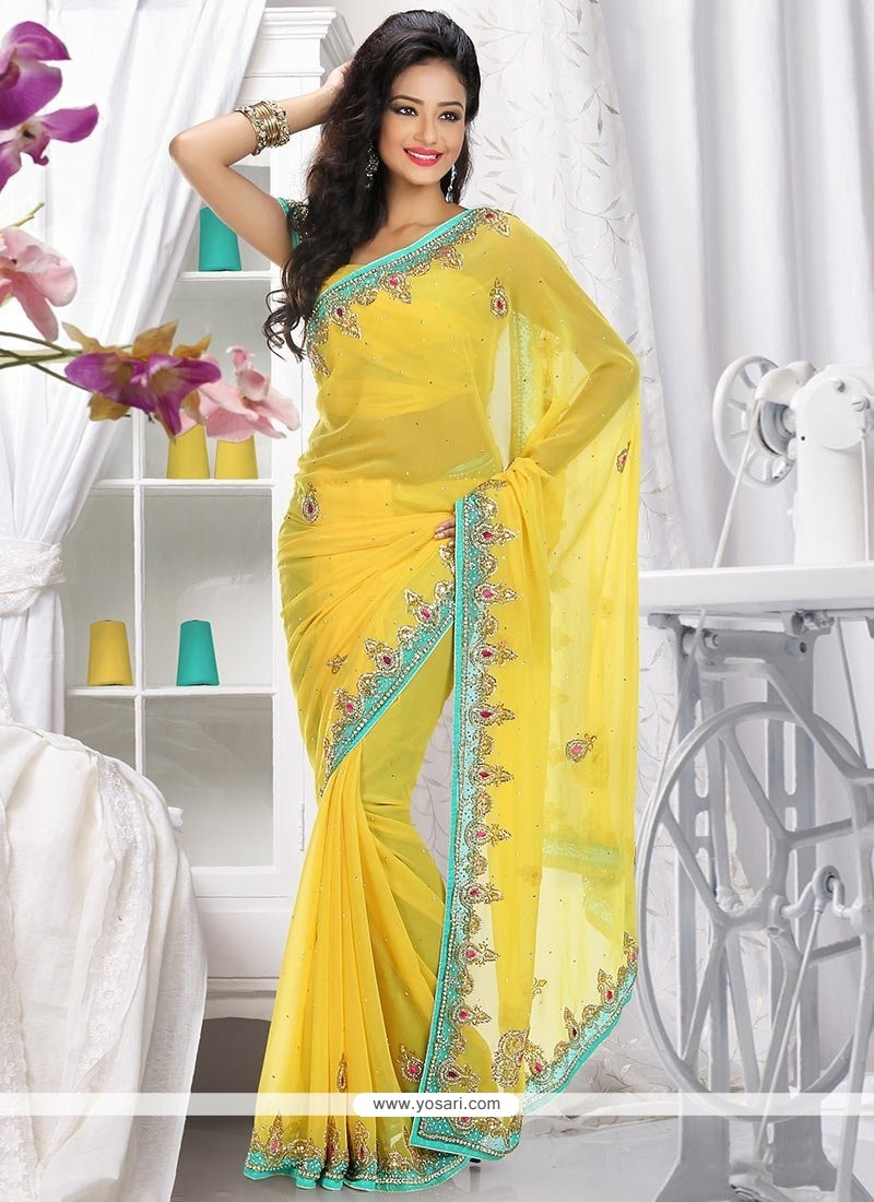 Observable Yellow Faux Chiffon Saree