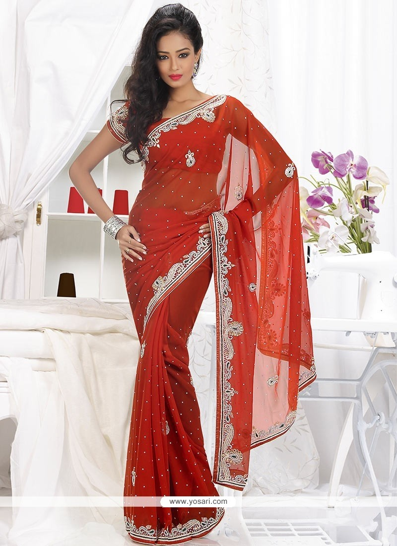 Lustrous Rust Shaded Faux Georgette Saree
