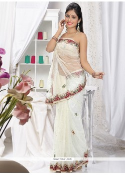Perfect White Net Saree