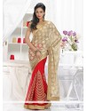 Genius Beige And Red Shimmer Georgette And Net Saree