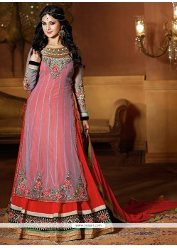 Jenifer Winget Grey And Red Net Anarkali Suit