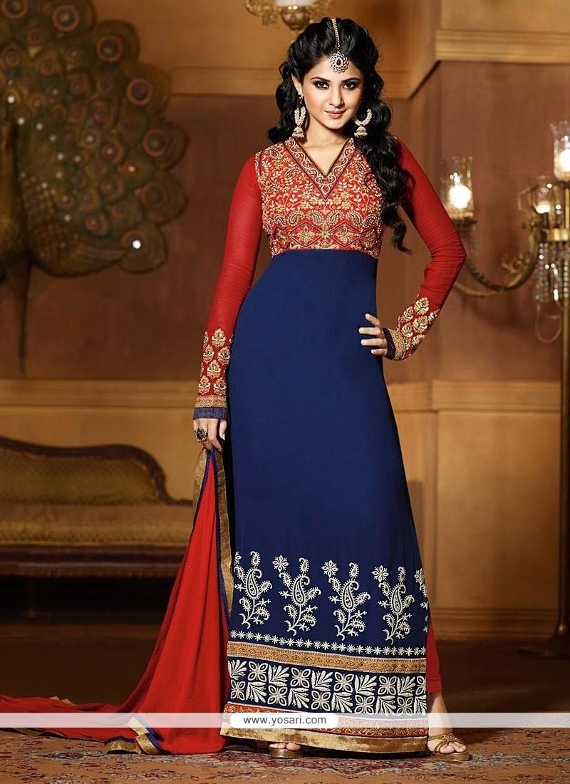 Jenifer Winget Red And Blue Georgette Churidar Suit