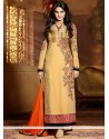 Jenifer Winget Cream Georgette Churidar Salwar Suit