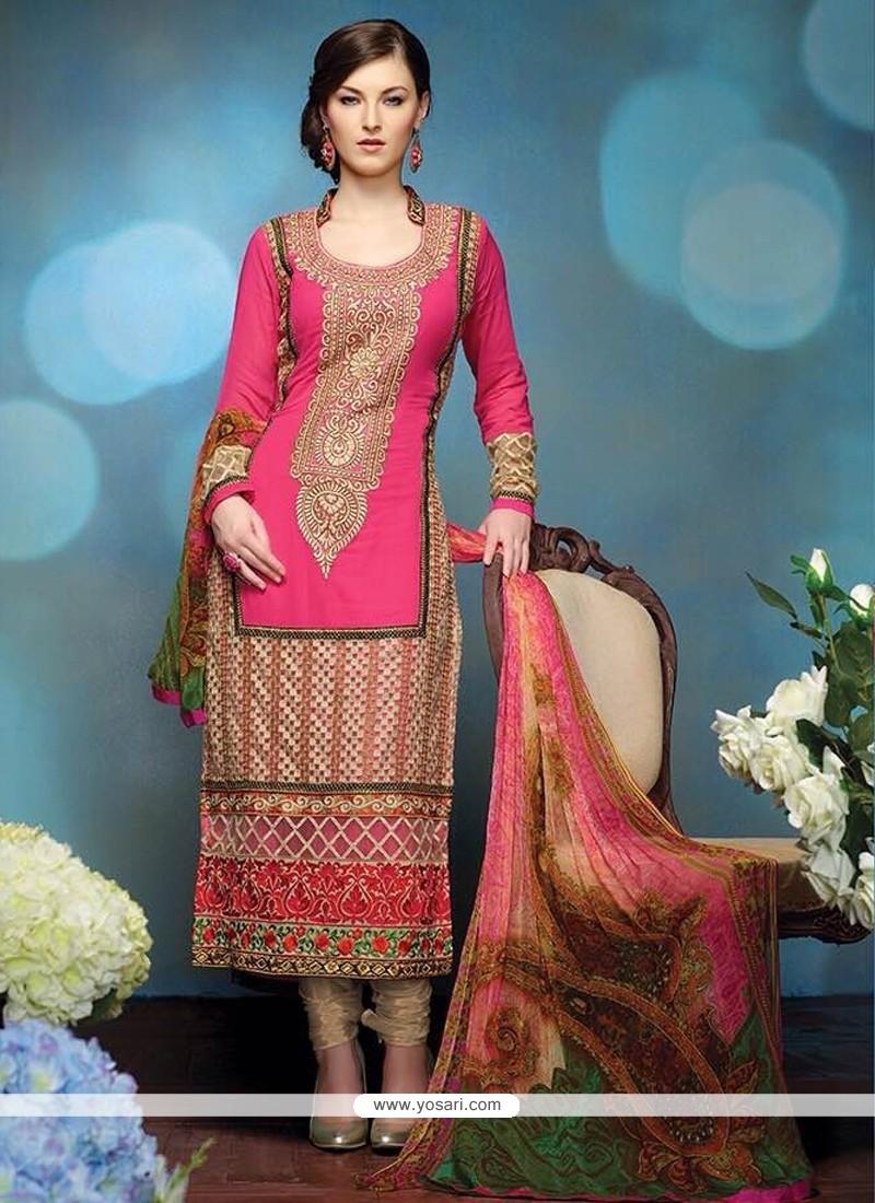 Pristine Pink Pure Georgette Churidar Salwar Kameez