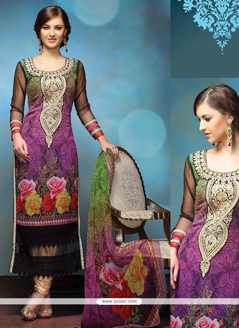 Opulent Purple Embroidery Churidar Salwar Suit