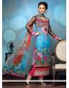 Modern Multicolor Printed Churidar Salwar Suit