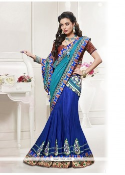 Prominent Georgette Blue Lehenga Saree
