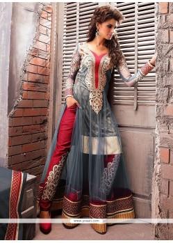 Glorious Grey Net Georgette Anarkali Suit