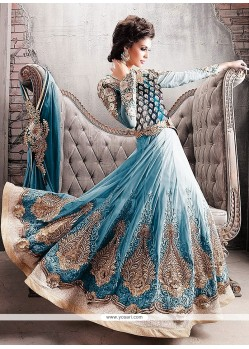 Turquoise Blue Faux Georgette Anarkali Salwar Suit