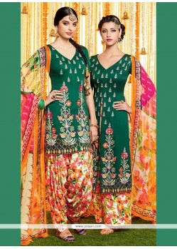 Glorious Green Print Work Cotton Satin Designer Suit