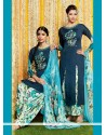 Glowing Blue Cotton Satin Designer Suit