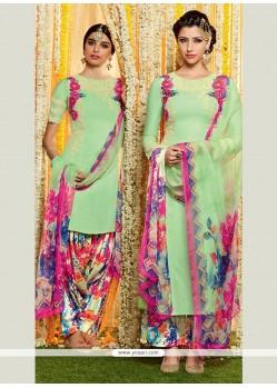 Magnificent Cotton Satin Green Designer Suit