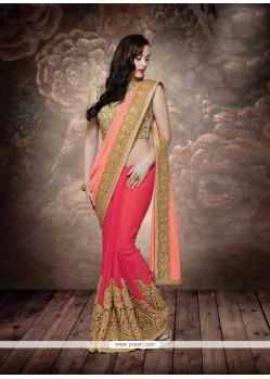 Voluptuous Rose Pink Designer Bridal Sarees