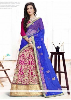 Dilettante Embroidered Work Blue And Hot Pink A Line Lehenga Choli