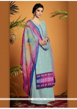 Enticing Digital Print Work Cotton Satin Designer Suit