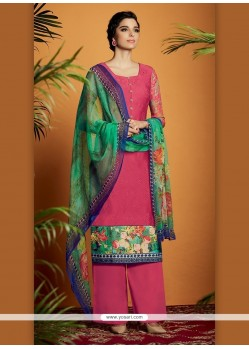 Renowned Cotton Satin Digital Print Work Designer Suit