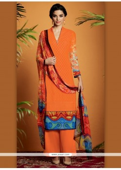Irresistible Digital Print Work Cotton Satin Designer Suit