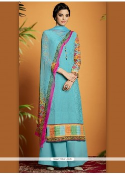 Lustrous Cotton Satin Turquoise Digital Print Work Designer Suit