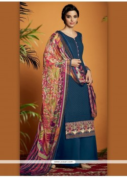 Aspiring Digital Print Work Navy Blue Cotton Satin Designer Suit