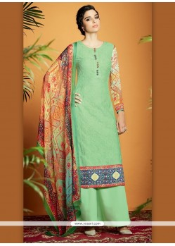 Lovely Digital Print Work Cotton Satin Designer Suit