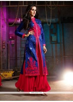 Scintillating Silk Navy Blue Resham Work Designer Palazzo Salwar Kameez