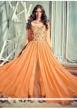 Stunning Resham Work Orange Pant Style Suit