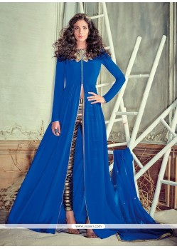 Enchanting Embroidered Work Blue Georgette Pant Style Suit
