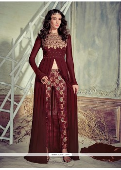 Beauteous Brown Embroidered Work Georgette Pant Style Suit