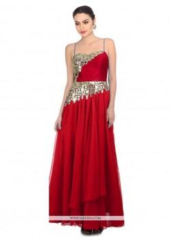 Excellent Mirror Work Georgette Red Designer Salwar Suit