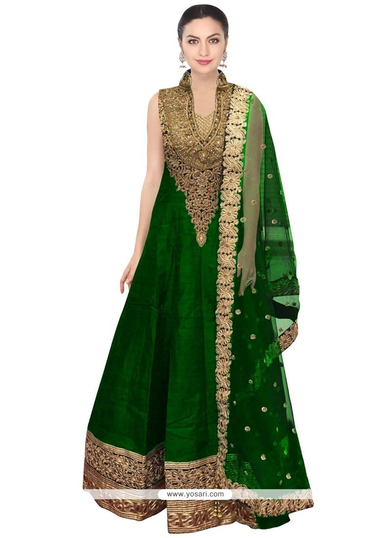 Bedazzling Green Floor Length Anarkali Salwar Suit