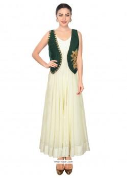 Fab Embroidered Work Green Raw Silk Designer Salwar Suit