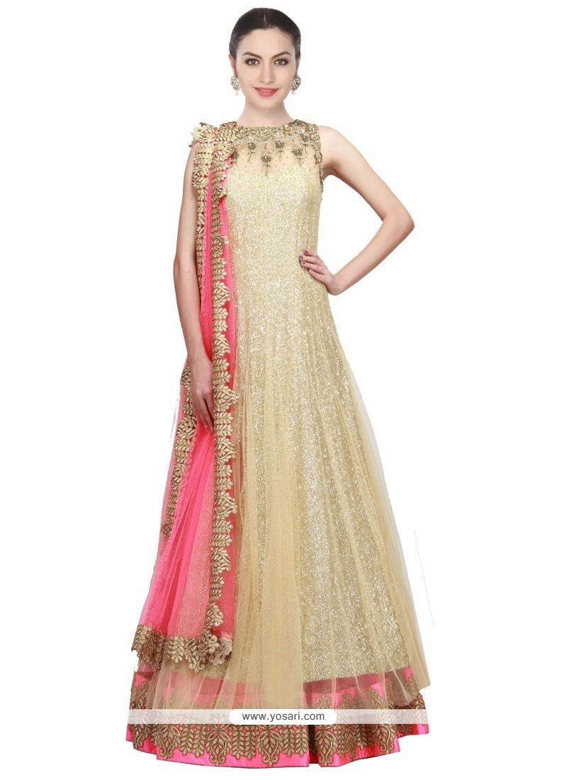 Fascinating Gold Floor Length Anarkali Salwar Suit