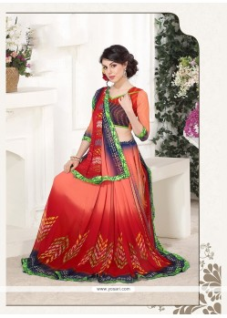 Tiptop Georgette Print Work Printed Saree
