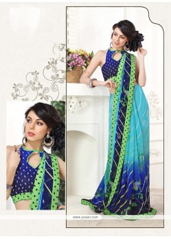 Cute Multi Colour Print Work Georgette Printed Saree