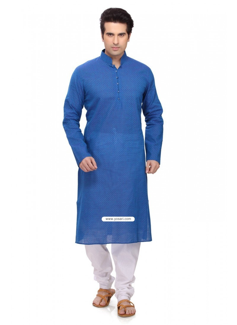 Buy Blue Casual Wear Ready Made Punjabi Kurta Payjama In