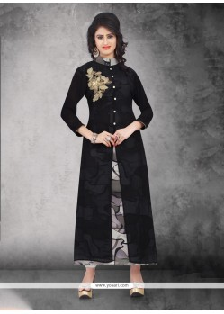 Adorning Black Embroidered Work Party Wear Kurti
