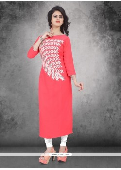 Exuberant Weight Less Rose Pink Party Wear Kurti
