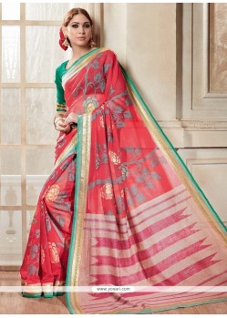 Sunshine Silk Red Casual Saree