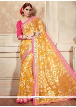 Heavenly Silk Yellow Printed Saree