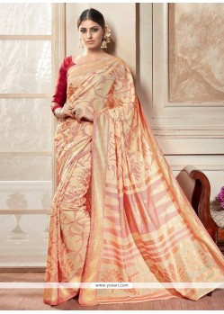 Glowing Multi Colour Print Work Silk Casual Saree