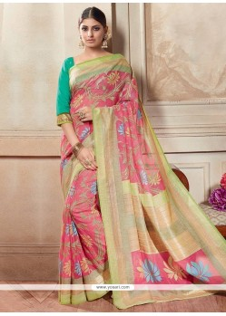 Blissful Silk Multi Colour Printed Saree
