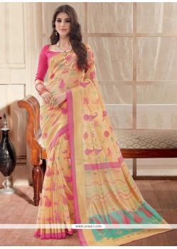 Cute Silk Print Work Casual Saree