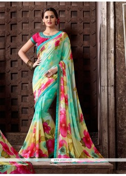 Brilliant Print Work Multi Colour Georgette Printed Saree