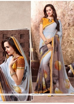 Haute Georgette Multi Colour Print Work Casual Saree