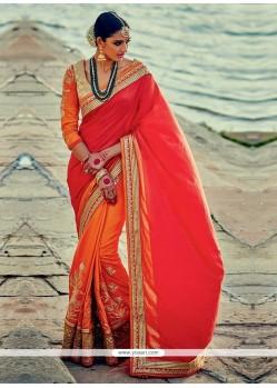 Dignified Silk Patch Border Work Designer Half N Half Saree