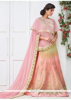 Sonorous Pink Embroidered Work A Line Lehenga Choli