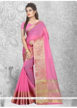 Sophisticated Cotton Silk Pink Casual Saree